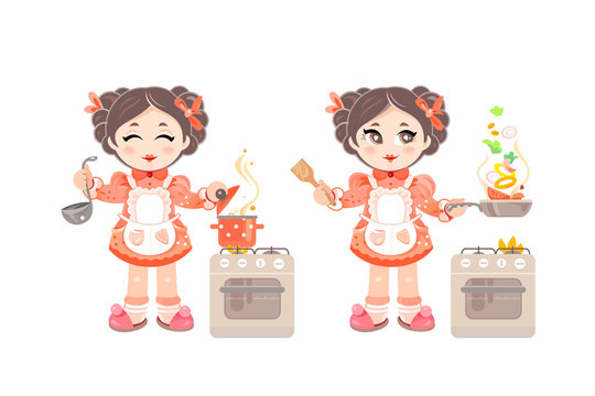 Little Girl Chef in Appron Cooking Delicious Food Vector Illustration. Kitchen Stove and Kitchen Tools