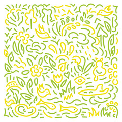 Doodle hand drawing Background. Flowers, leaves, birds . Vector illustration