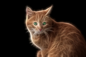 Fractal image of a ginger wild cat with bright green eyes
