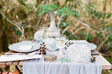 Two place settings with large raw crystals