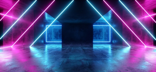 Background Triangle Neon Blue Purple Sci Fi Futuristic Fluorescent Alien Spaceship Dark Empty Grunge Concrete Corridor Tunnel Hall Room Glowing Lights Laser Show 3D Rendering