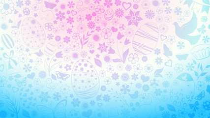 Background of eggs, flowers, cakes, hare, hen, chicken and other Easter symbols in light blue and purple colors