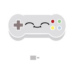 flat color retro cartoon game controller