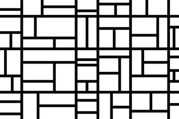 Abstract mosaic pattern grid black and white
