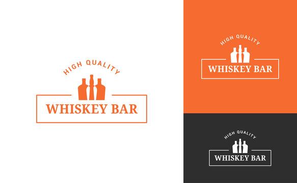 whiskey bottle logo set on white background