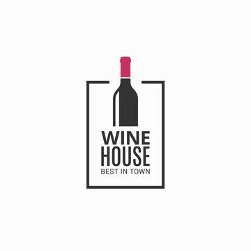Wine bottle logo. Winehouse icon on black