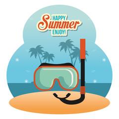 Wall Mural - summer enjoy with snorkel