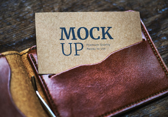 Business Card in a Wallet Mockup