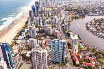 Aerial view of luxury apartment buildings on the Gold Coast near the ocean and Nerang river