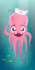 funny cartoon illustration of a happy octopus