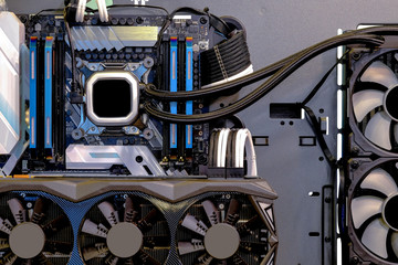 Close-up and inside Desktop PC Gaming and Water Cooling CPU, interior on Computer PC case and technology background