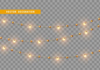 Christmas decorations, isolated on transparent background. Golden light garlands realistic set. Gold Xmas decor. Festive design element