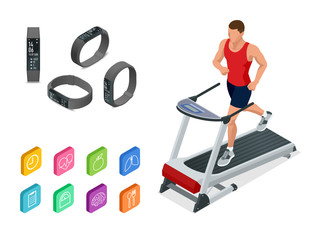 Isometric running on a treadmill and fitness bracelet or tracker isolated on white. Sports accessories, a wristband with running activity steps counter and heartbeat pulse meter.
