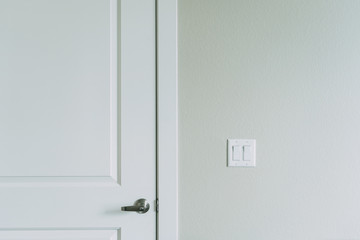White door with visible handle. Olive drywallwith light switch on it.