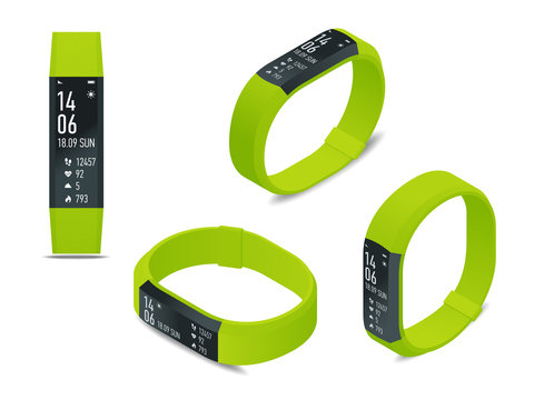 Isometric fitness bracelet or tracker with a smartphone isolated on white. Sports accessories, a wristband with running activity steps counter and heartbeat pulse meter.