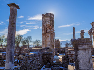 Ancient ruins of Philippi - Greece, rock and brick columns and walls