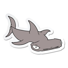 sticker of a cartoon hammerhead shark