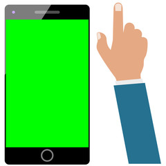 Wall Mural - Smartphone or cellphone or mobile green screen and businessman hand isolated  on white. Set ready for be animated