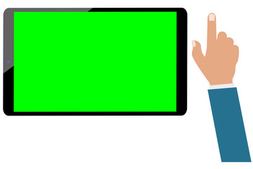 Wall Mural - Tablet computer green screen and businessman hand isolated. Set ready for be animated