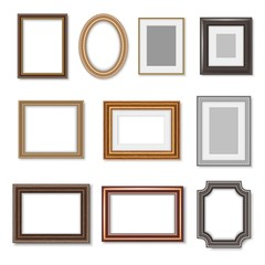 Wooden photo frames and picture golden borders