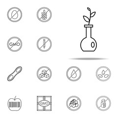 no gmo, eco, tube icon. GMO icons universal set for web and mobile