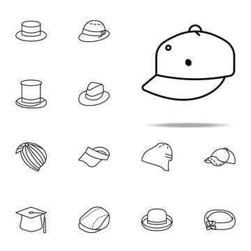 flat brim hat icon. hats icons universal set for web and mobile