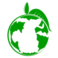 Earth planet icon with a leaf. Vector illustration design