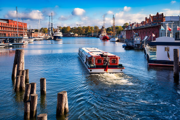 Lübeck, Germany, 10/07/2018: View over the Hansa harbor at the trave river in the hanseatic city Lübeck