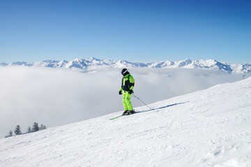 Man Skier Zillertal Arena ski resort in Tyrol Austria
