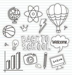 Back to school set of colorful stickers , vector illustration