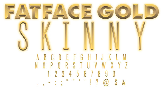 FatFace Gold SKINNY Font: A Condensed Typeface Made of 24-Carat Gold