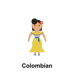 Colombian, woman cartoon icon. Element of People around the world color icon. Premium quality graphic design icon. Signs and symbols collection icon for websites, web design