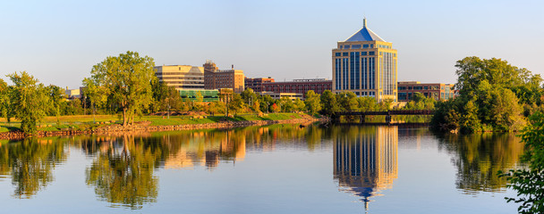 Fototapeta Reflection of downtown Wausau, Wisconsin in the Wisconsin River in Late summer obraz