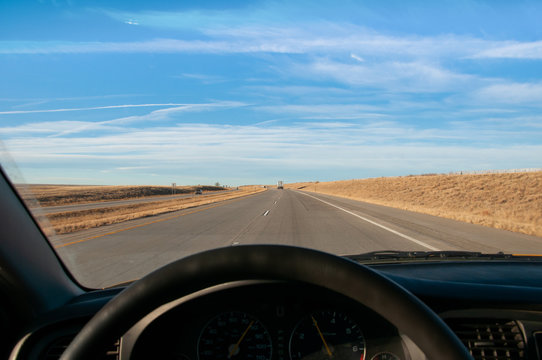 Looking at Interstate 70 through the windshield