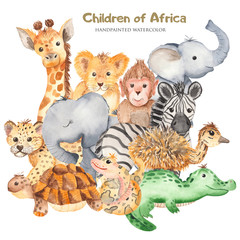 Watercolor card with cute characters of African animals. Template for invitation, greeting card, party, baby shower, children's clothing and design.