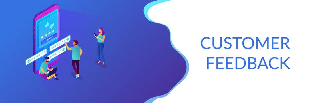 Customer feedback isometric 3D banner header.