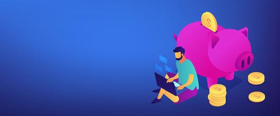 Online jobs isometric 3D banner header.