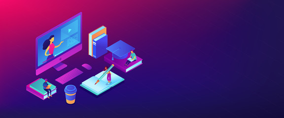 E-learning isometric 3D banner header.