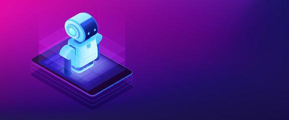 Mobile robotics isometric 3D banner header.