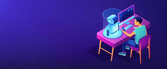 Robotics programming isometric 3D banner header.
