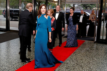 Danish Crown Princess Mary arrives at a Gala at the Museum of Fine Arts, Houston in Houston, Texas