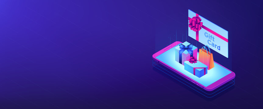 Digital gift card isometric 3D banner header.