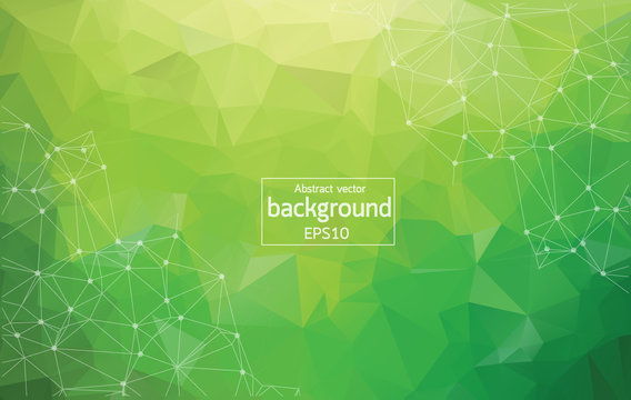 Abstract Multi green Polygonal Space Background with Connecting Dots and Lines. Geometric Polygonal background molecule and communication. Concept of science, chemistry, biology, medicine, technology.