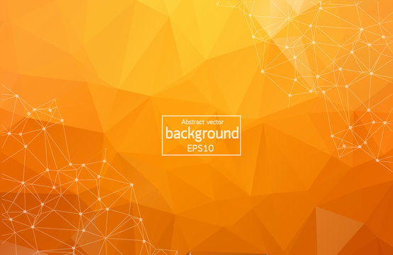 Bright orange low poly communication background. Vector tech design