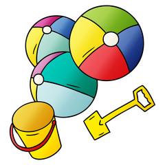 gradient cartoon doodle beach balls with a bucket and spade