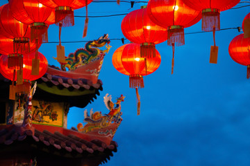 chinese new year lantern with dragon background with copyspace