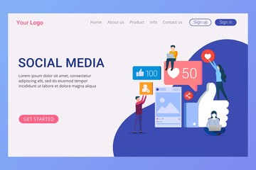 Landing page template social media concept for website and mobile website