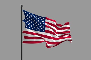 Waving flag of United States of America. 3D rendering