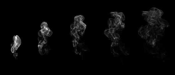 Stages of white smoke. Isolated on black background. 3D rendering.