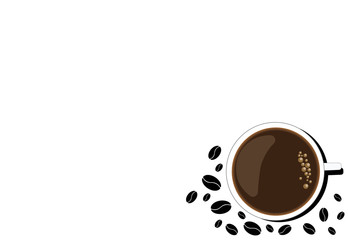 A mug of hot coffee with froth and grains on a white background.